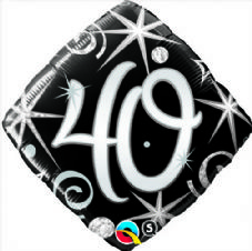 40th Birthday Sparkles & Swirls Foil Balloon